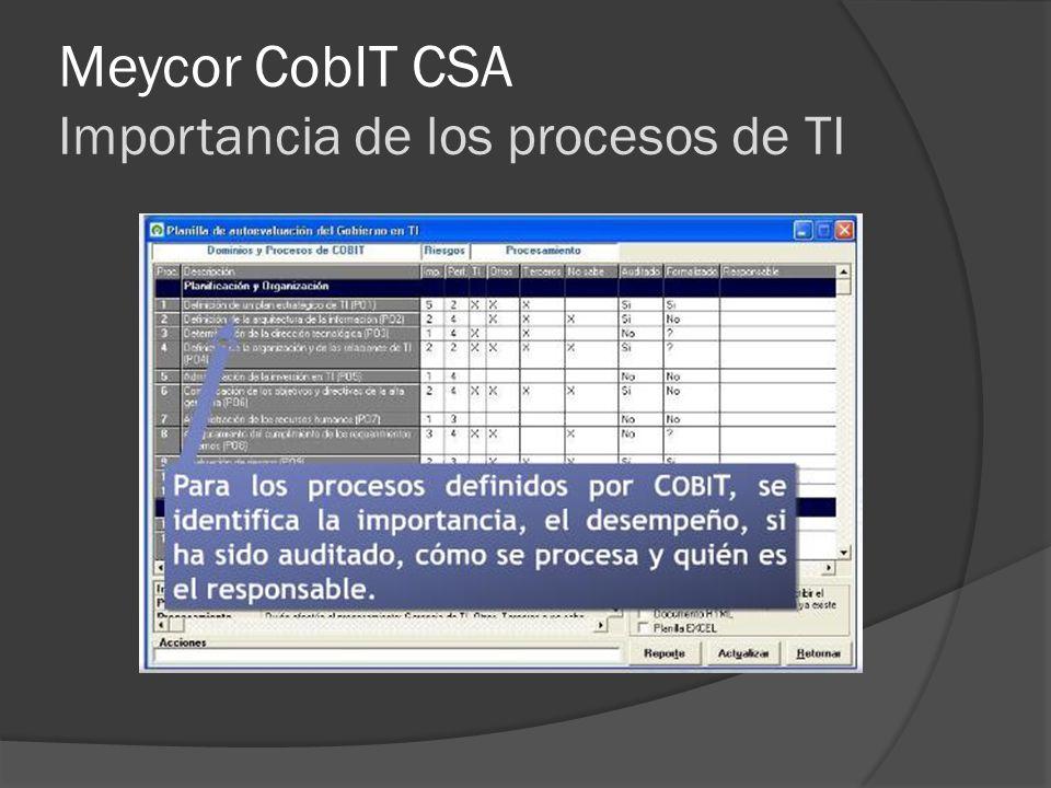 Meycor CobIT CSA Importancia de los procesos de TI