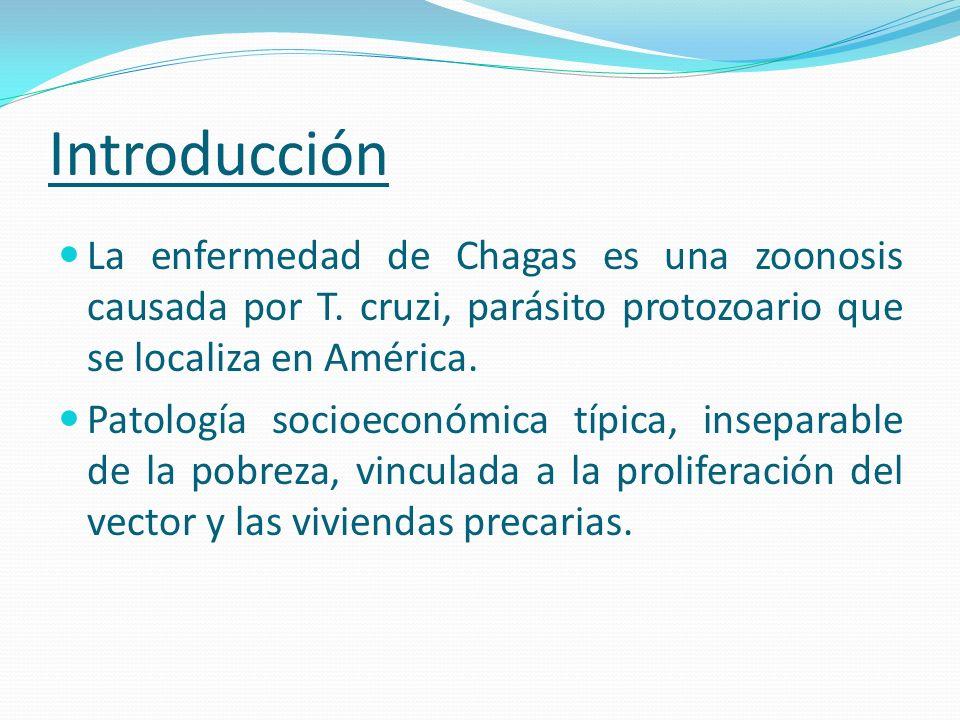 Introducción La enfermedad de Chagas es una zoonosis causada por T. cruzi, parásito protozoario que se localiza en América.