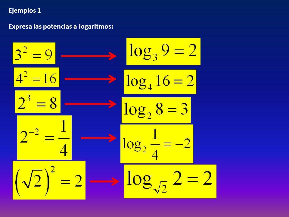 Ejemplos 1 Expresa las potencias a logaritmos:
