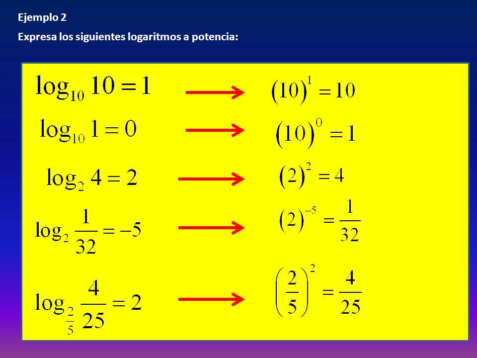 Ejemplo 2 Expresa los siguientes logaritmos a potencia:
