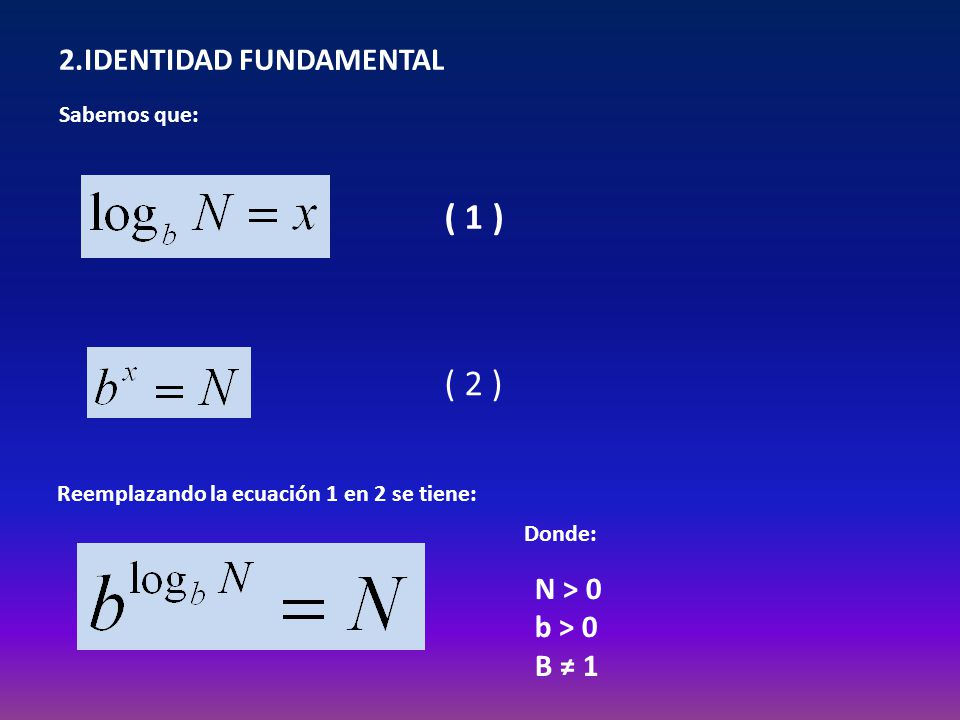 ( 1 ) ( 2 ) 2.IDENTIDAD FUNDAMENTAL N > 0 b > 0 B ≠ 1