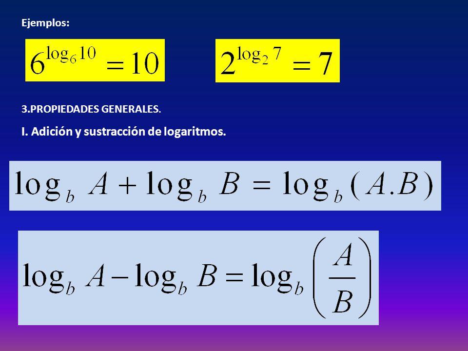 I. Adición y sustracción de logaritmos.