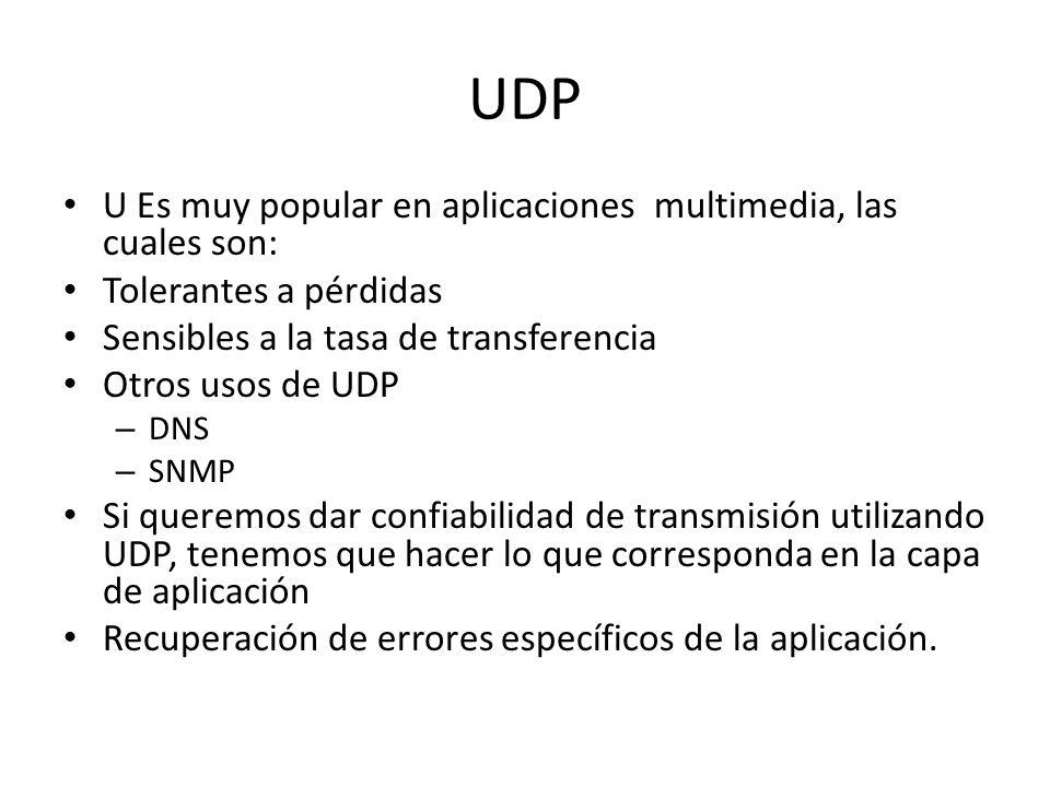 UDP U Es muy popular en aplicaciones multimedia, las cuales son: