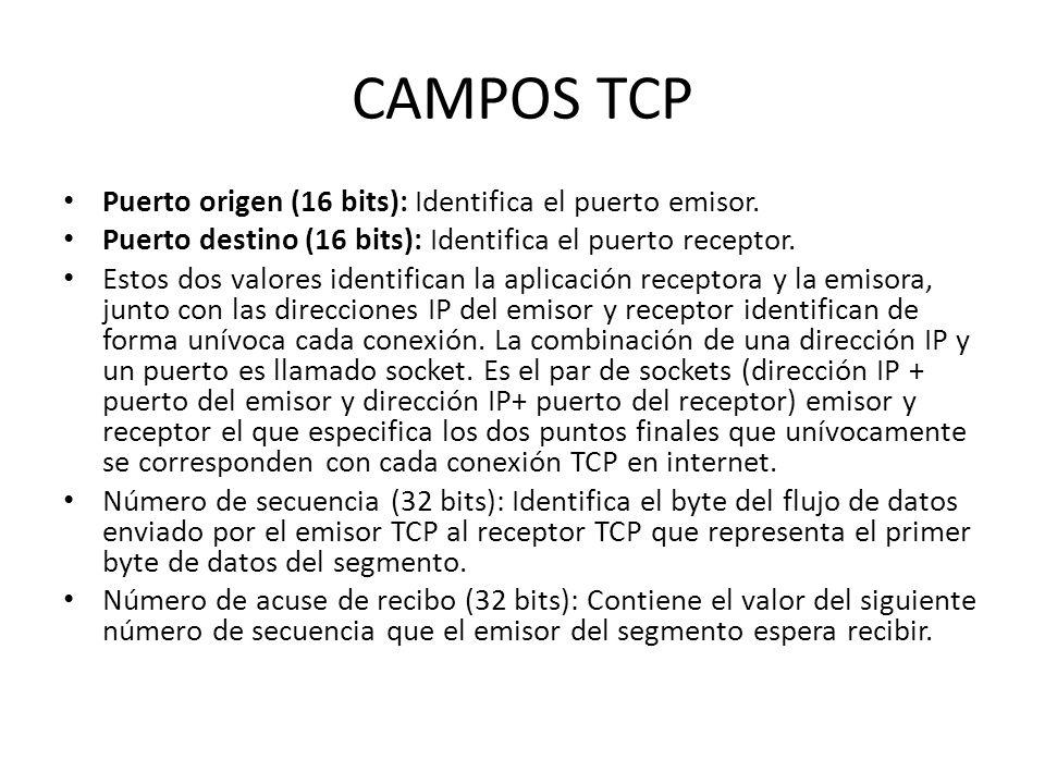 CAMPOS TCP Puerto origen (16 bits): Identifica el puerto emisor.