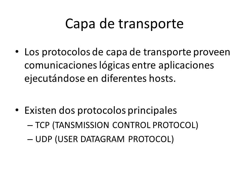 Capa de transporte Los protocolos de capa de transporte proveen comunicaciones lógicas entre aplicaciones ejecutándose en diferentes hosts.