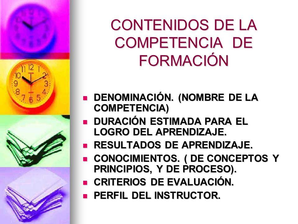 CONTENIDOS DE LA COMPETENCIA DE FORMACIÓN