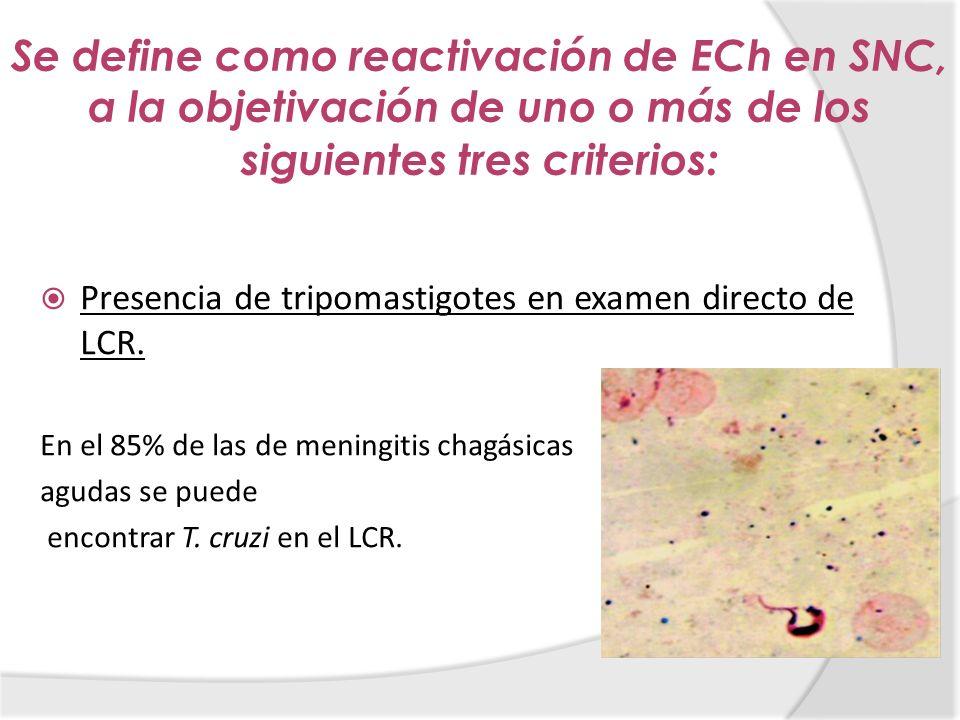 Se define como reactivación de ECh en SNC, a la objetivación de uno o más de los siguientes tres criterios:
