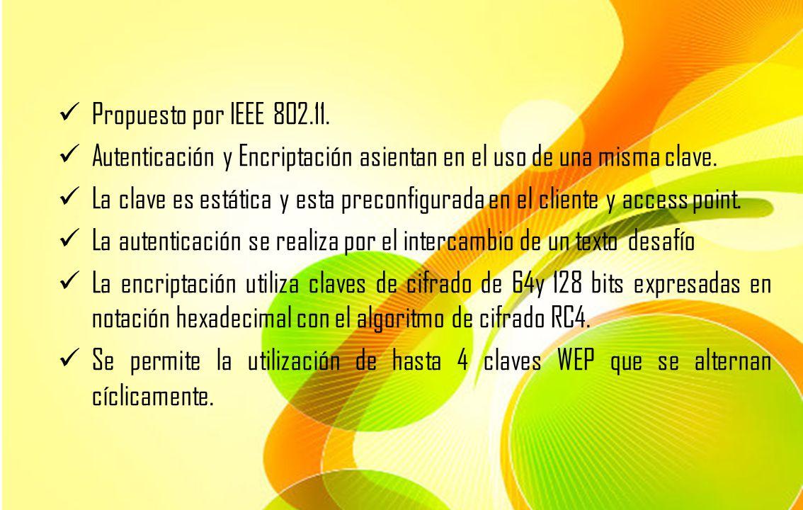 Propuesto por IEEE 802.11. Autenticación y Encriptación asientan en el uso de una misma clave.