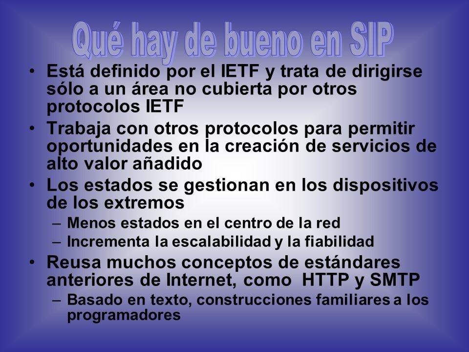 Qué hay de bueno en SIP Está definido por el IETF y trata de dirigirse sólo a un área no cubierta por otros protocolos IETF.