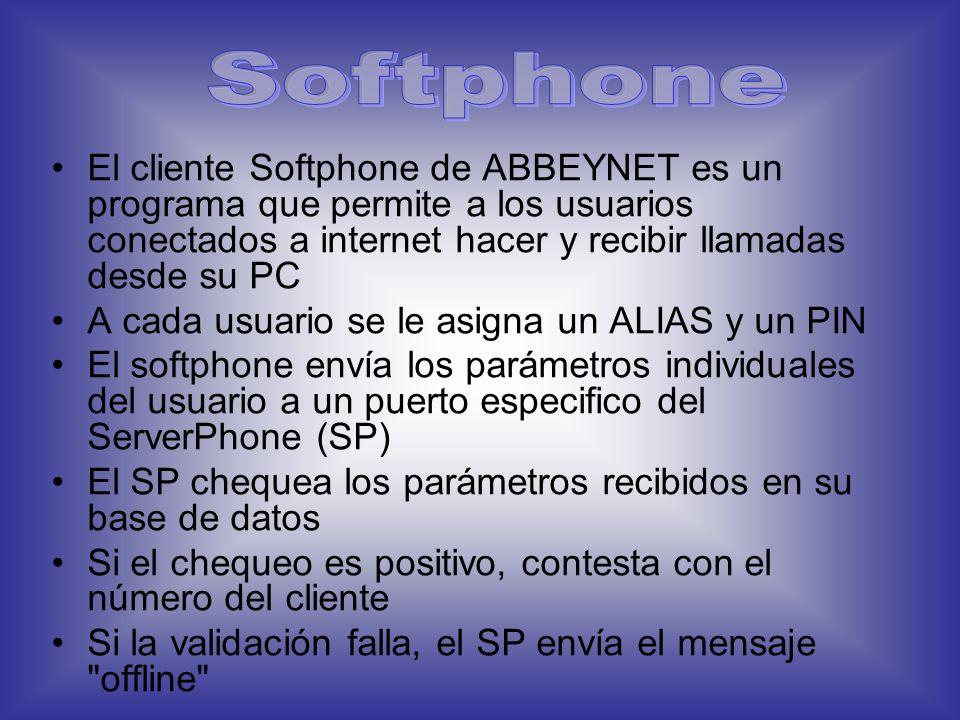 Softphone El cliente Softphone de ABBEYNET es un programa que permite a los usuarios conectados a internet hacer y recibir llamadas desde su PC.