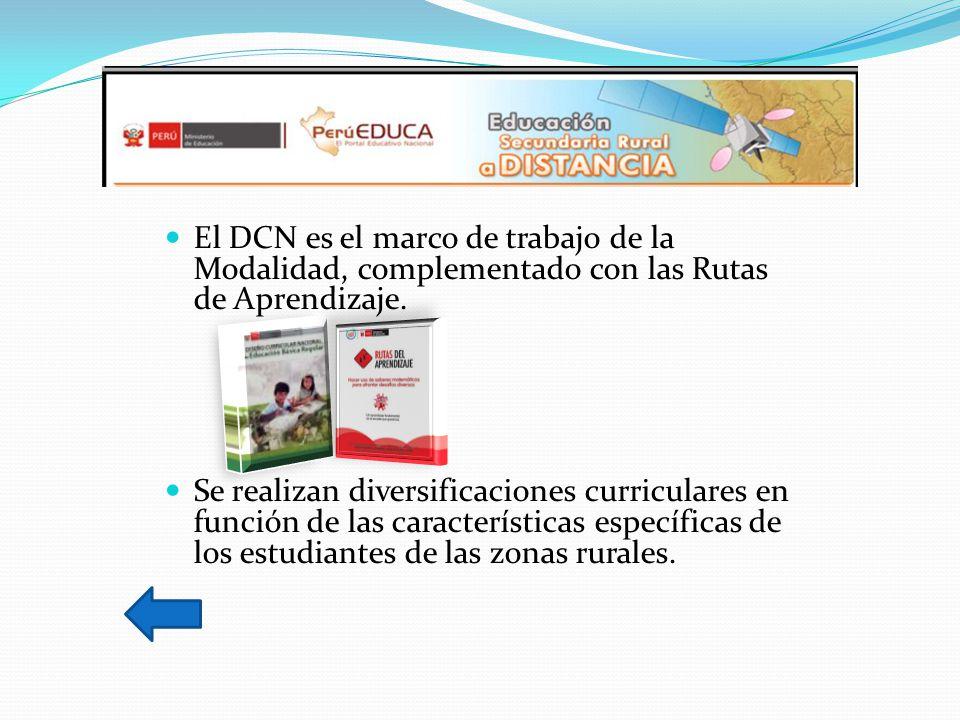 El DCN es el marco de trabajo de la Modalidad, complementado con las Rutas de Aprendizaje.