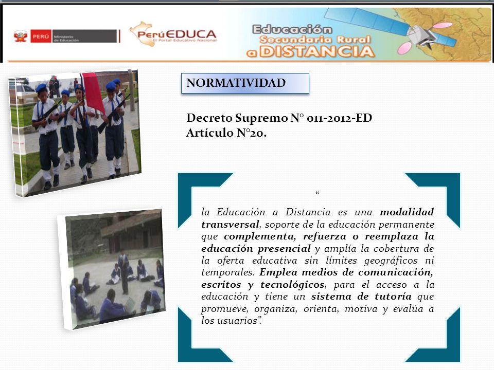 Decreto Supremo N° 011-2012-ED Artículo N°20.
