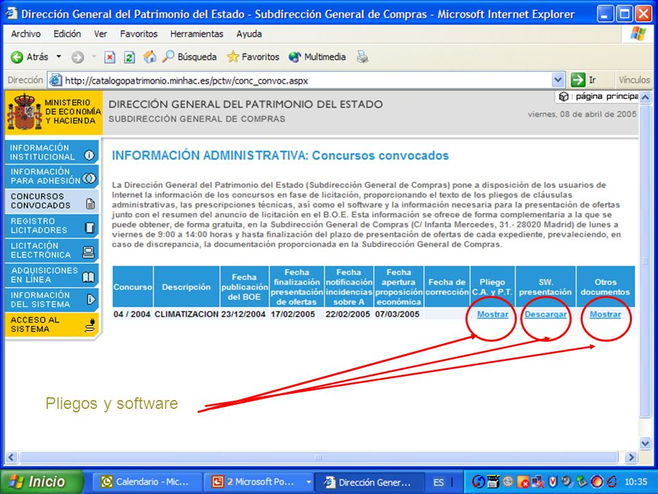 Pliegos y software