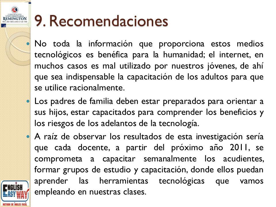 9. Recomendaciones