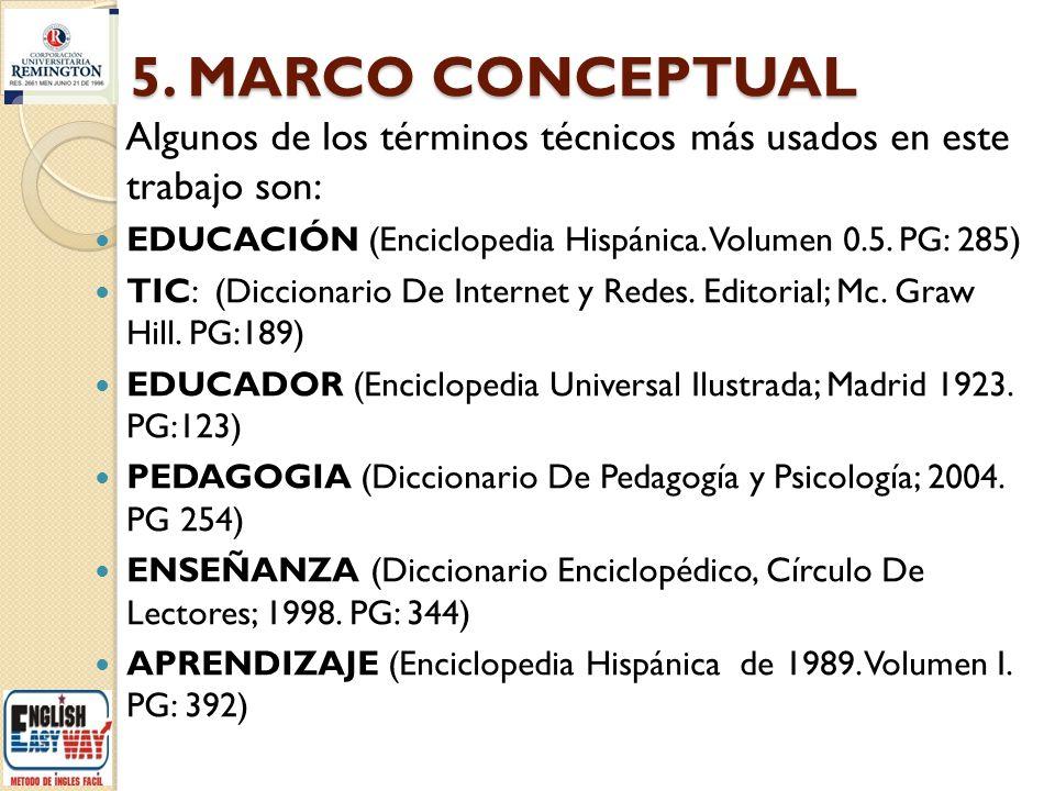 5. MARCO CONCEPTUAL Algunos de los términos técnicos más usados en este trabajo son: EDUCACIÓN (Enciclopedia Hispánica. Volumen 0.5. PG: 285)