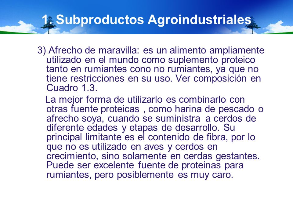 1. Subproductos Agroindustriales