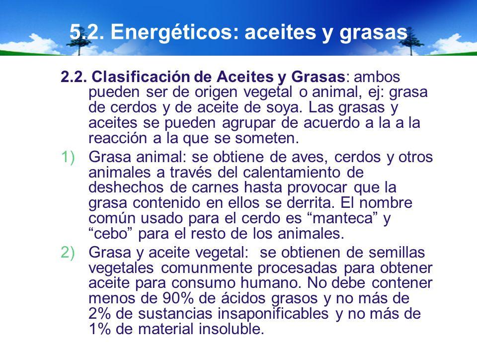 5.2. Energéticos: aceites y grasas