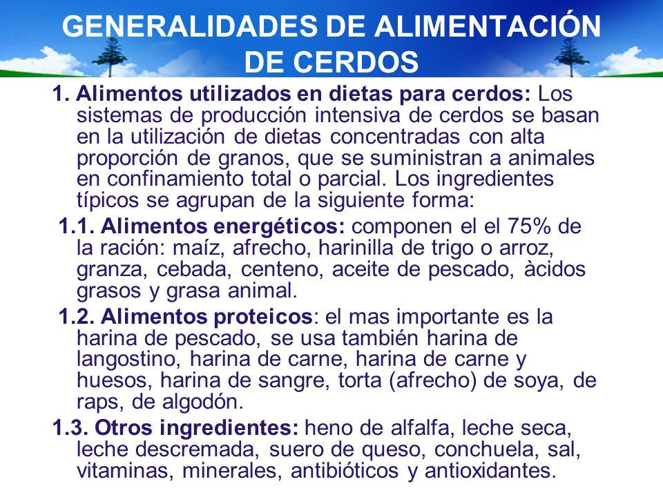 GENERALIDADES DE ALIMENTACIÓN DE CERDOS