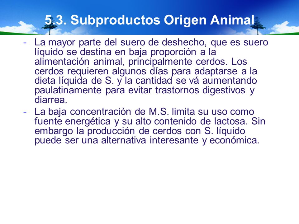 5.3. Subproductos Origen Animal