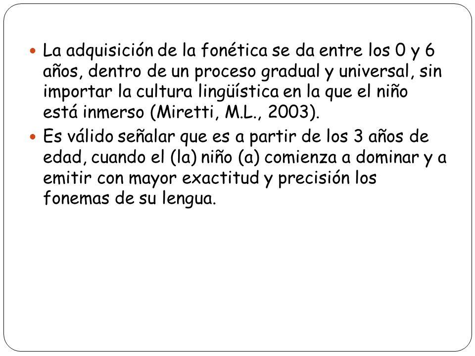 La adquisición de la fonética se da entre los 0 y 6 años, dentro de un proceso gradual y universal, sin importar la cultura lingüística en la que el niño está inmerso (Miretti, M.L., 2003).
