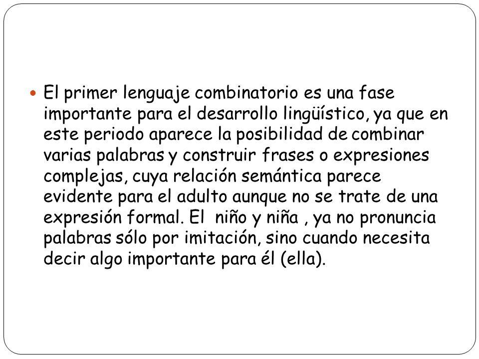 El primer lenguaje combinatorio es una fase importante para el desarrollo lingüístico, ya que en este periodo aparece la posibilidad de combinar varias palabras y construir frases o expresiones complejas, cuya relación semántica parece evidente para el adulto aunque no se trate de una expresión formal.