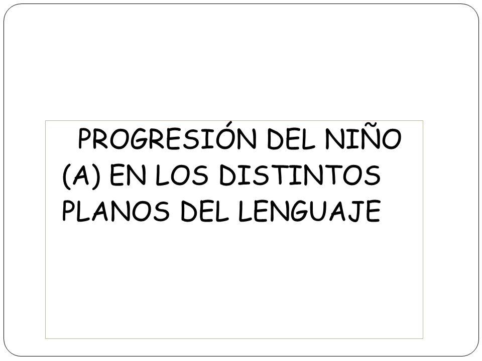 PROGRESIÓN DEL NIÑO (A) EN LOS DISTINTOS PLANOS DEL LENGUAJE