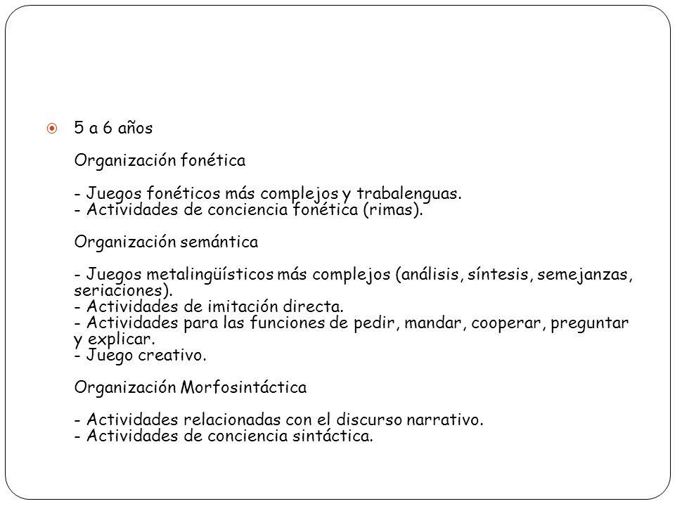 5 a 6 años Organización fonética - Juegos fonéticos más complejos y trabalenguas.