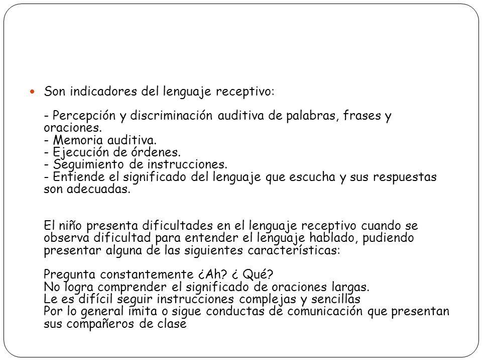 Son indicadores del lenguaje receptivo: - Percepción y discriminación auditiva de palabras, frases y oraciones.
