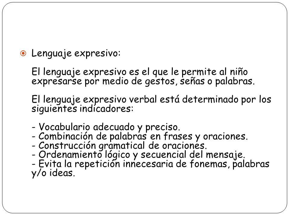Lenguaje expresivo: El lenguaje expresivo es el que le permite al niño expresarse por medio de gestos, señas o palabras.