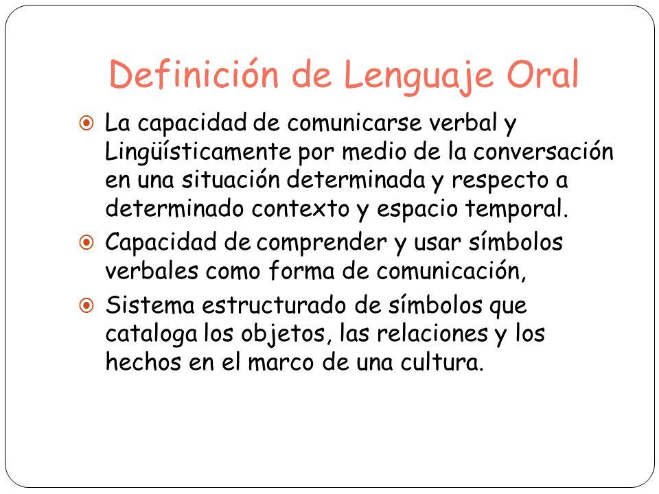 Definición de Lenguaje Oral