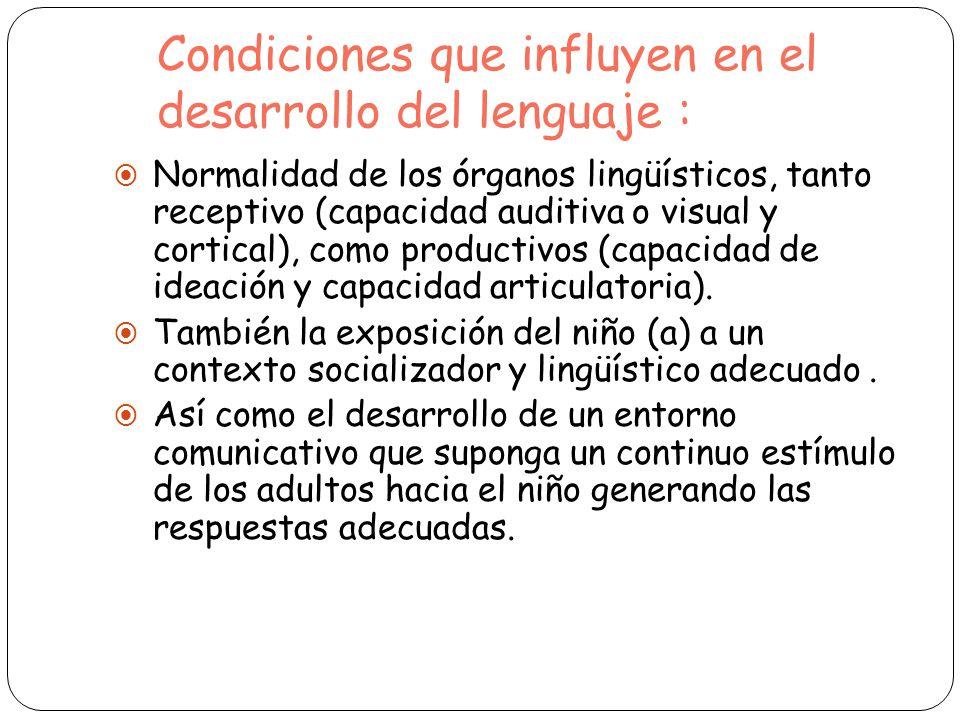 Condiciones que influyen en el desarrollo del lenguaje :