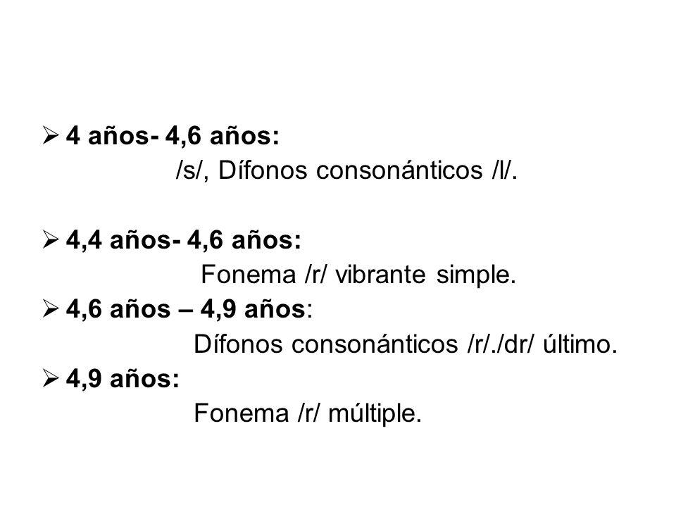 4 años- 4,6 años: /s/, Dífonos consonánticos /l/. 4,4 años- 4,6 años: Fonema /r/ vibrante simple.