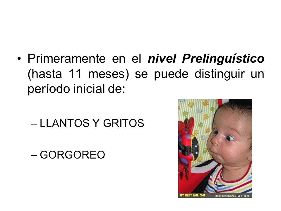 Primeramente en el nivel Prelinguístico (hasta 11 meses) se puede distinguir un período inicial de: