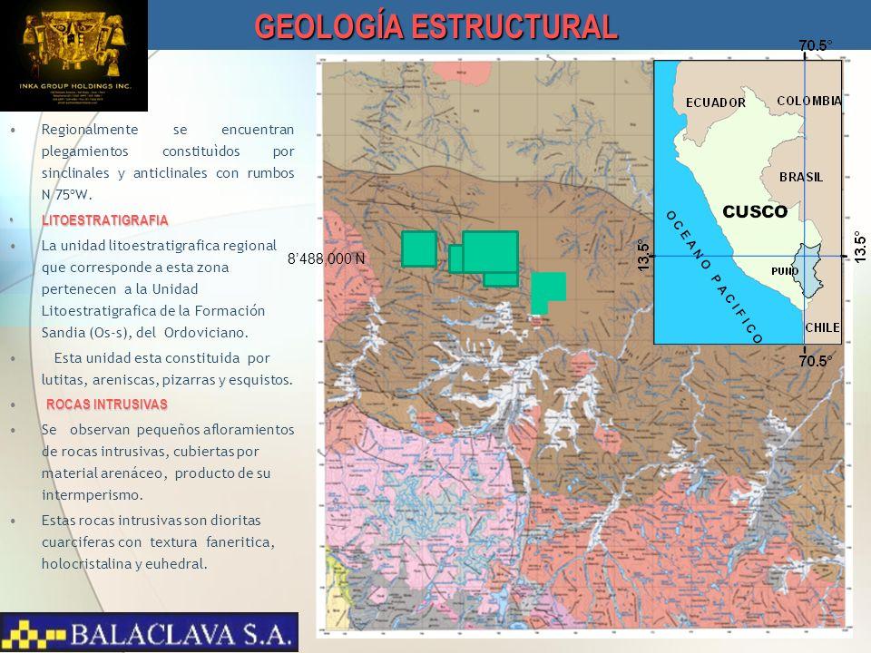 GEOLOGÍA ESTRUCTURAL Regionalmente se encuentran plegamientos constituìdos por sinclinales y anticlinales con rumbos N 75ºW.