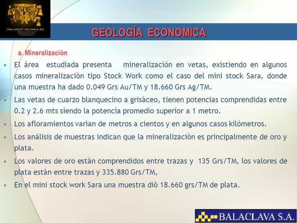 GEOLOGÍA ECONOMICA a. Mineralización