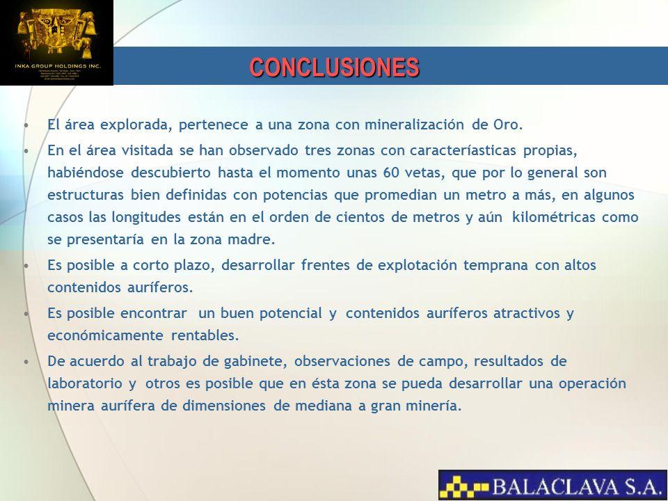 CONCLUSIONES El área explorada, pertenece a una zona con mineralización de Oro.
