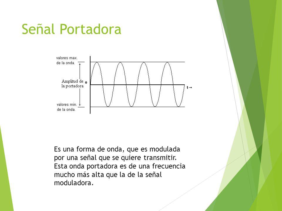 Señal Portadora Es una forma de onda, que es modulada por una señal que se quiere transmitir.
