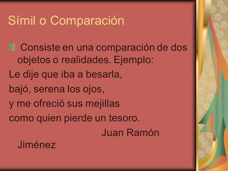 Símil o Comparación Consiste en una comparación de dos objetos o realidades. Ejemplo: Le dije que iba a besarla,