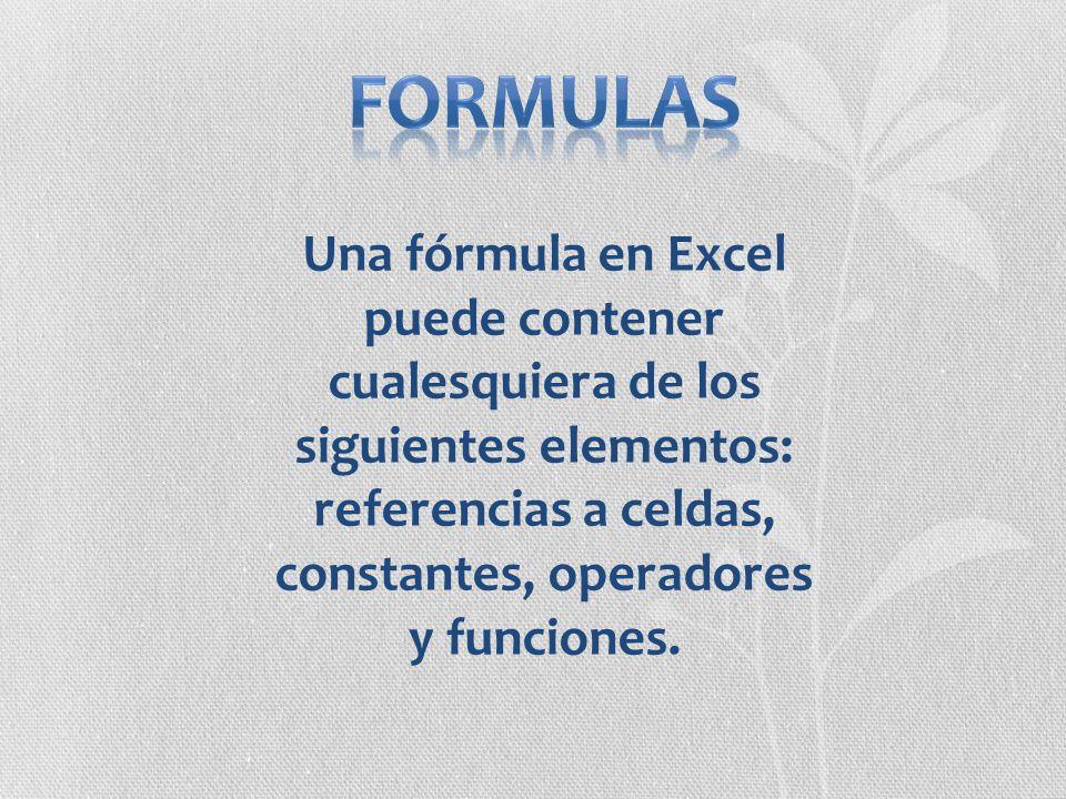 formulas Una fórmula en Excel puede contener cualesquiera de los siguientes elementos: referencias a celdas, constantes, operadores y funciones.