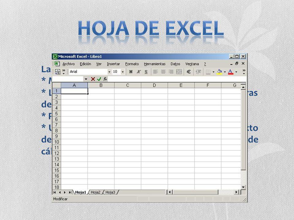 Hoja de Excel Las hojas de Excel constan de: * Máximo de 65.536 filas.