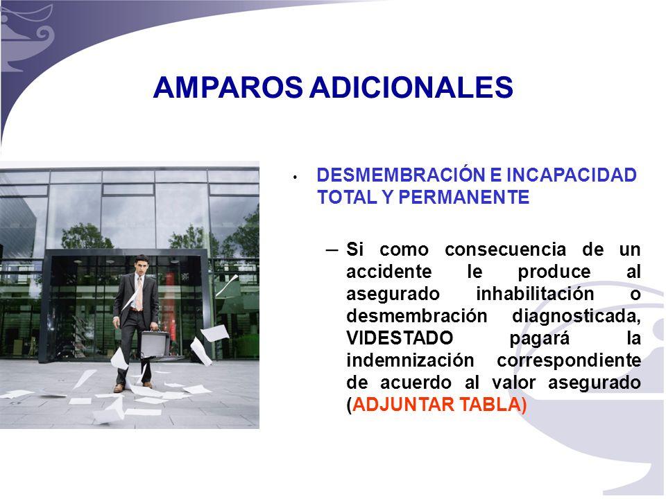 AMPAROS ADICIONALES DESMEMBRACIÓN E INCAPACIDAD TOTAL Y PERMANENTE