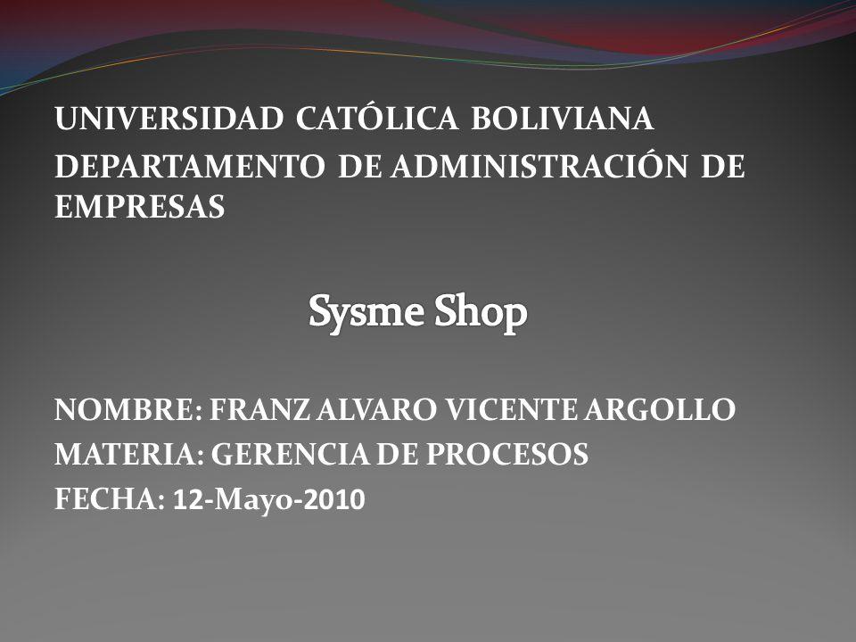 Sysme Shop UNIVERSIDAD CATÓLICA BOLIVIANA
