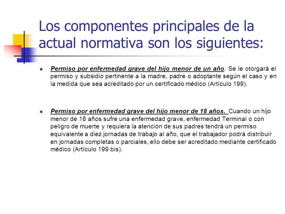 Los componentes principales de la actual normativa son los siguientes:
