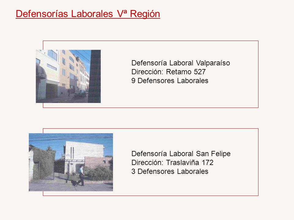 Defensorías Laborales Vª Región