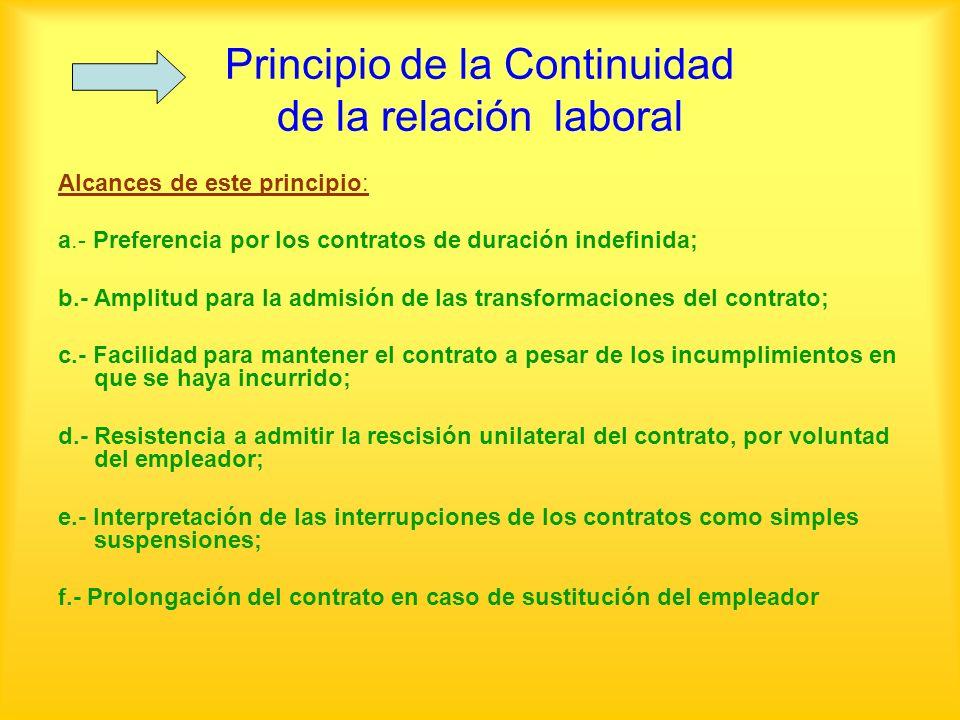 Principio de la Continuidad de la relación laboral