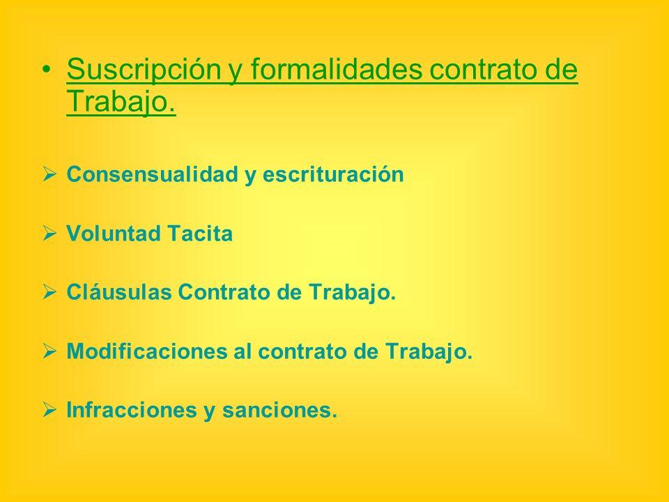 Suscripción y formalidades contrato de Trabajo.