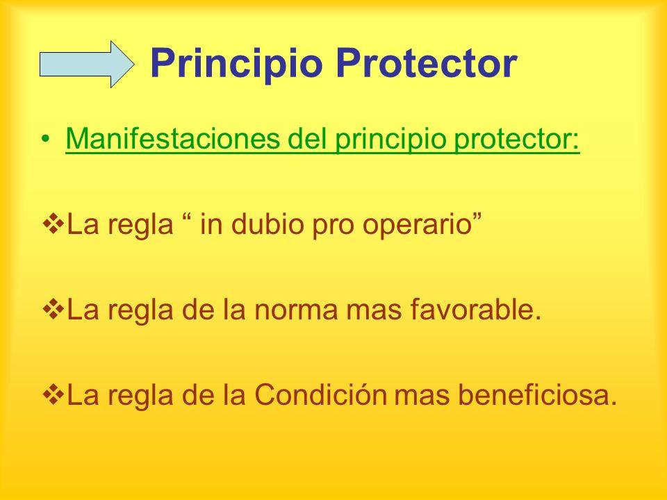 Principio Protector Manifestaciones del principio protector: