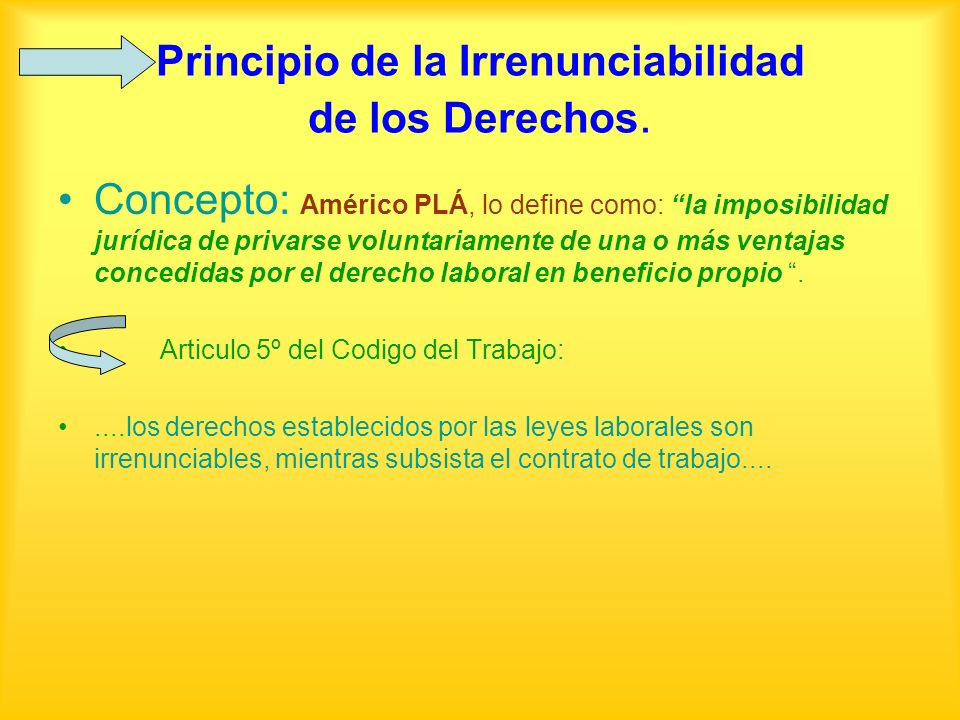 Principio de la Irrenunciabilidad de los Derechos.