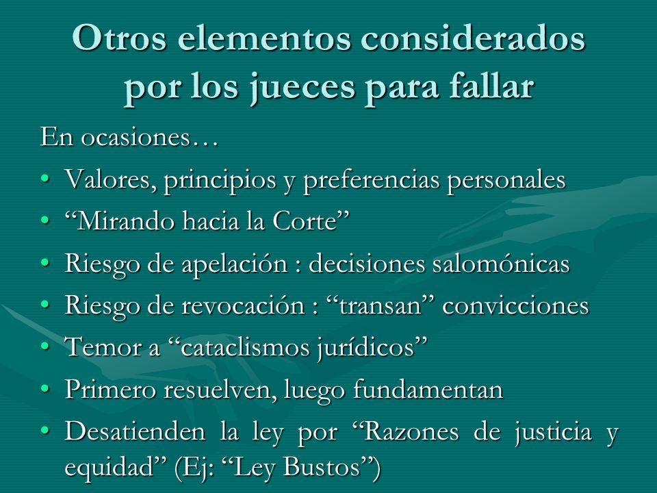 Otros elementos considerados por los jueces para fallar