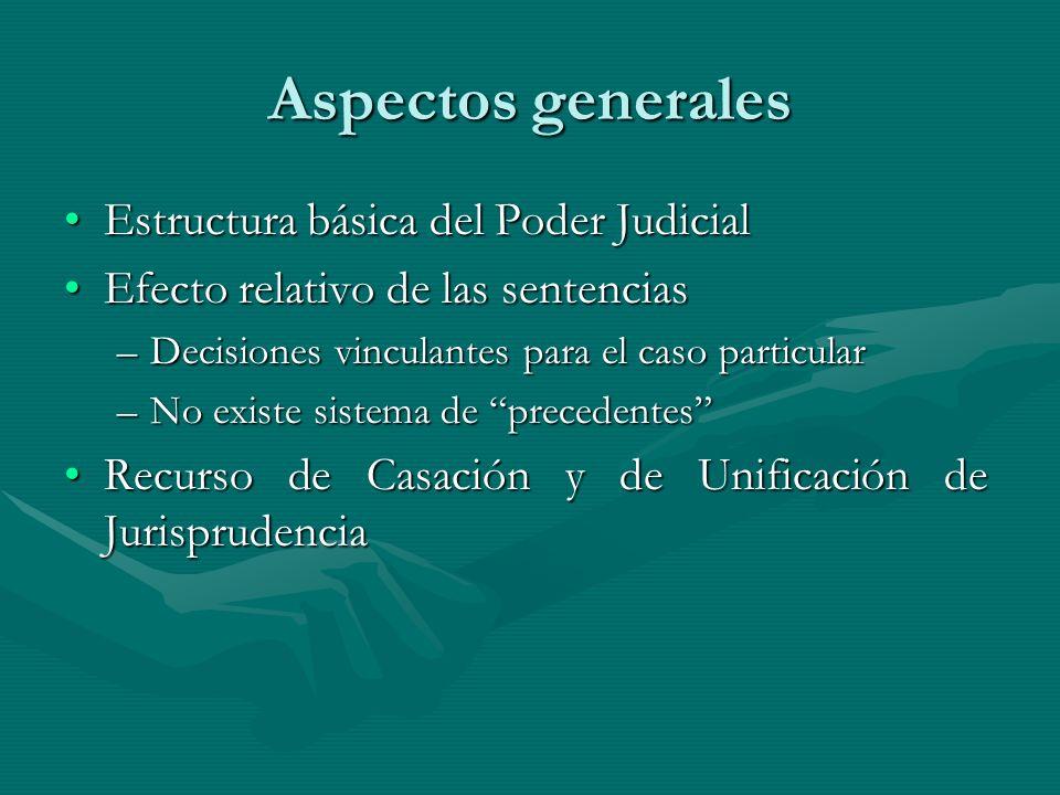 Aspectos generales Estructura básica del Poder Judicial
